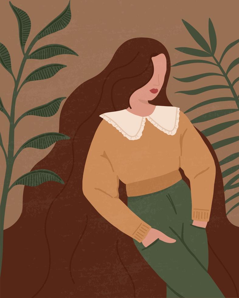 abstracte vrouw en bladeren silhouetten in boho-stijl. abstracte vrouwenportretten in pastelkleuren hedendaagse kunst. modepapier gesneden elementen voor posters op sociale media vector