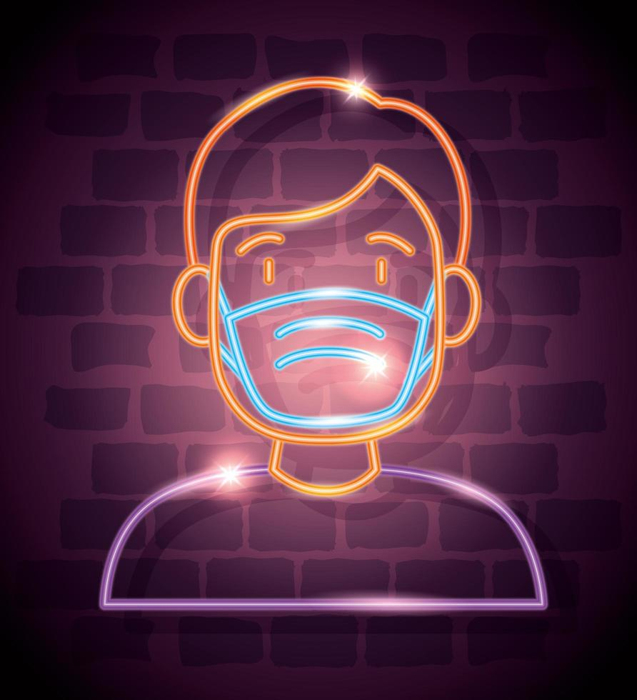neonlicht coronavirus pictogram met man met gezichtsmasker vector