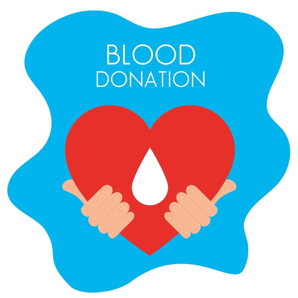 handen met hart van donatiebloed vector