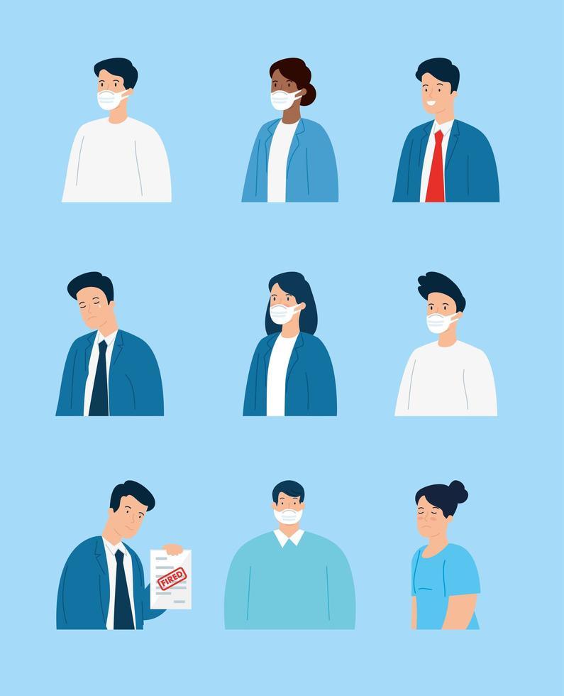 werkloze ondernemers met gezichtsmaskers vector