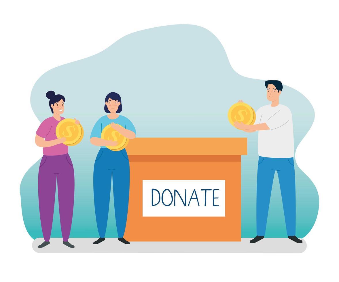 mensen met doos voor liefdadigheid en donatie vector