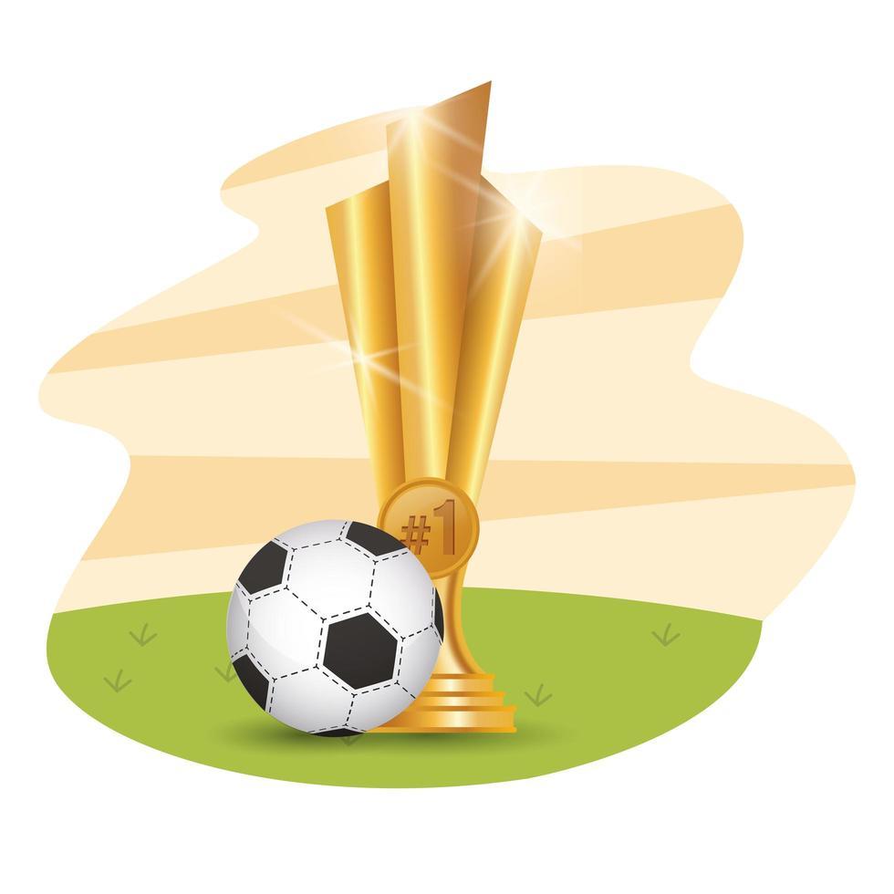 voetbal met trofee vector