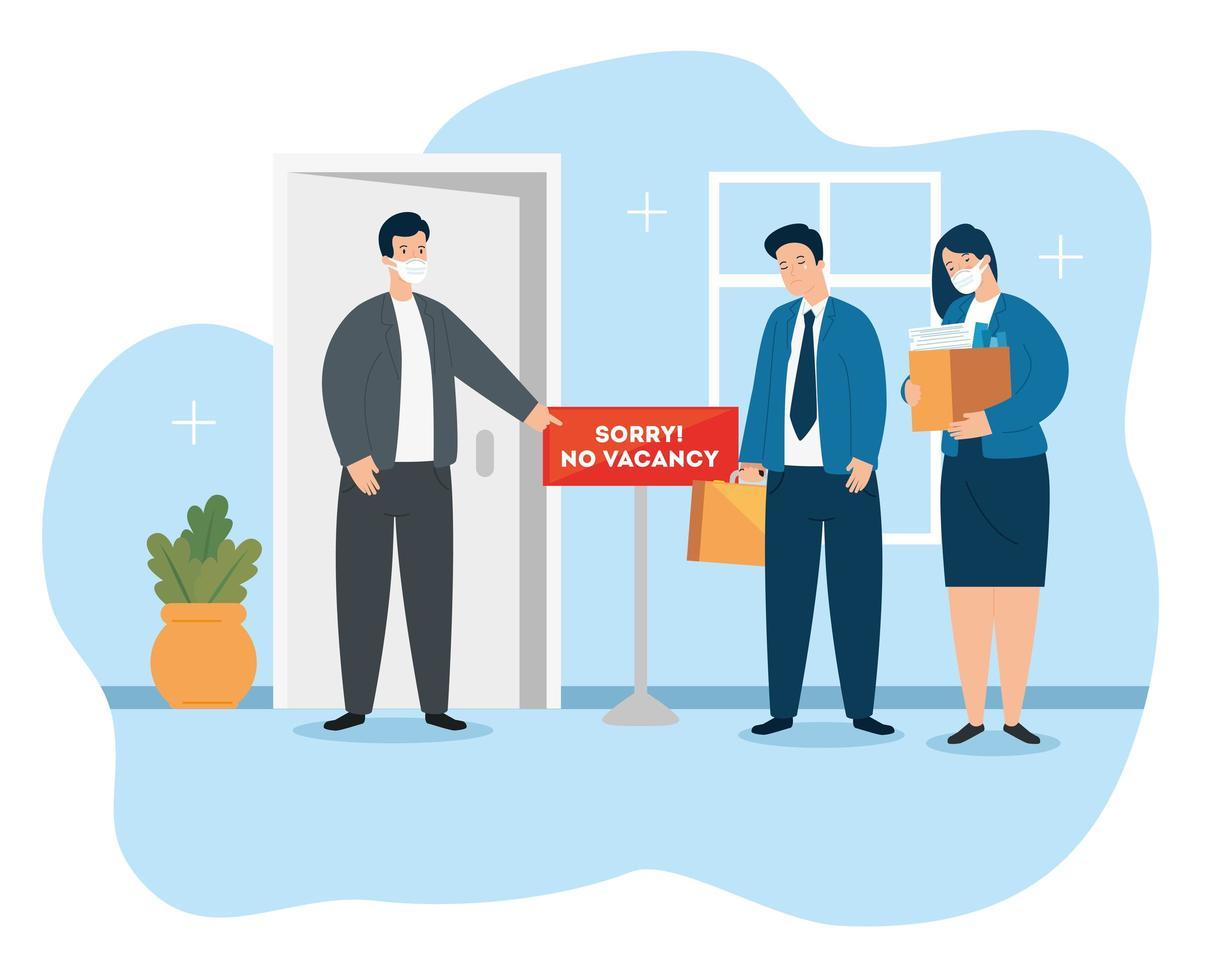 zakenmensen met gezichtsmaskers op zoek naar banen vector