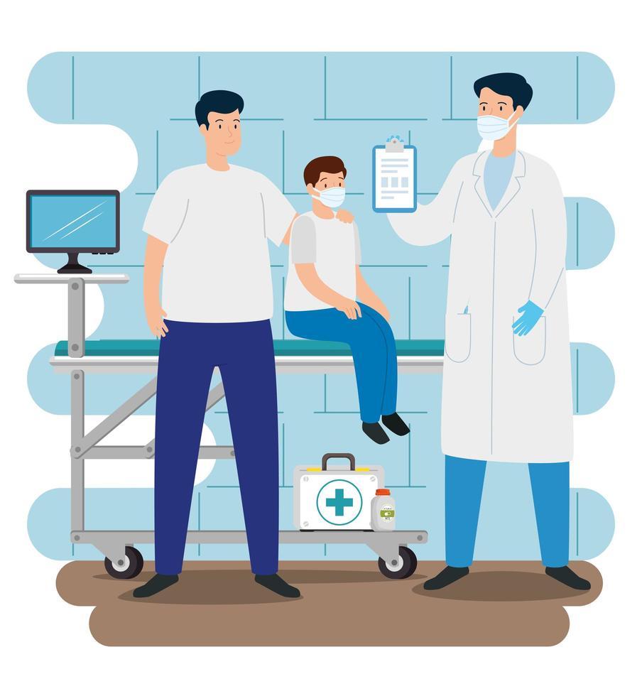 arts met familie in de spreekkamer vector