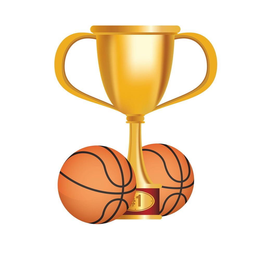 basketballen met trofee beker vector