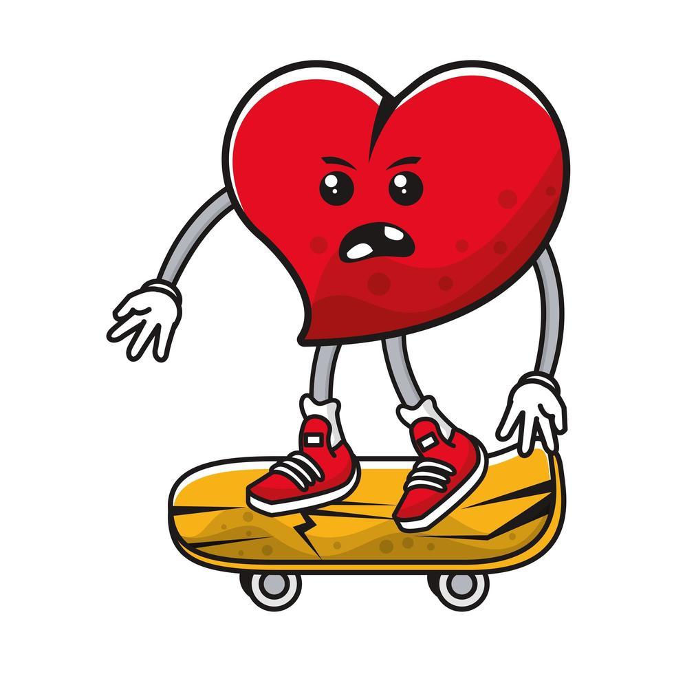 hart op skateboard komisch karakter vector