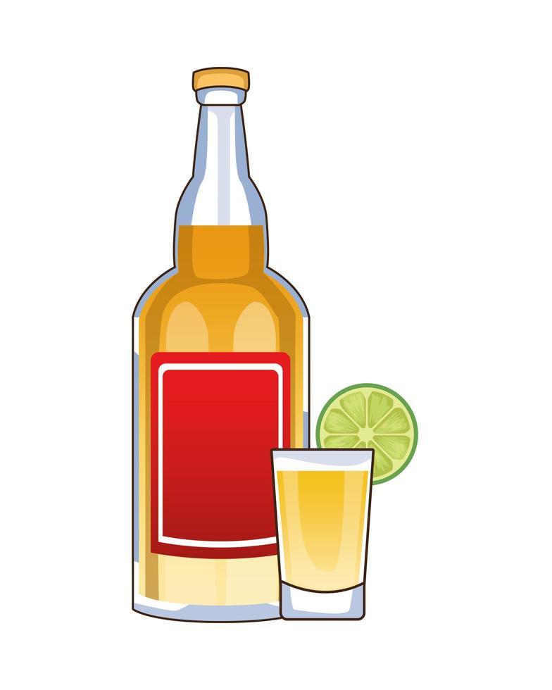 tequilafles en cocktailbeker mexicaans drankje vector