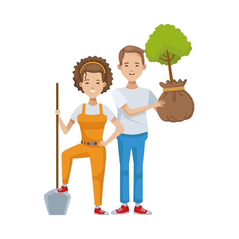 milieuactivist paar bomen planten vector