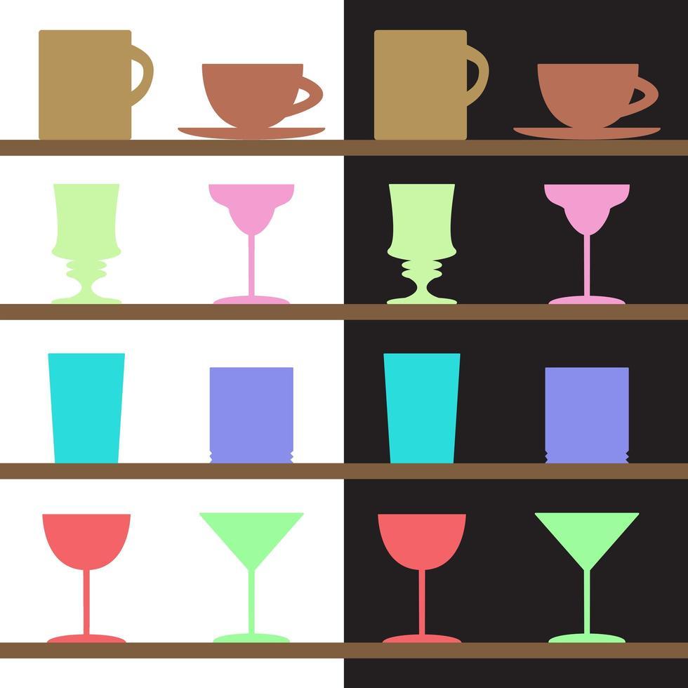 set bekers, bekers, glazen silhouetten vector