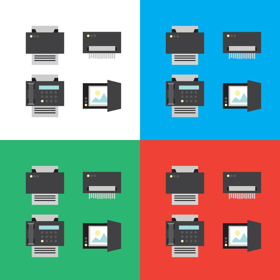 print, scanner, fax en shredder plat pictogrammen of illustraties vector