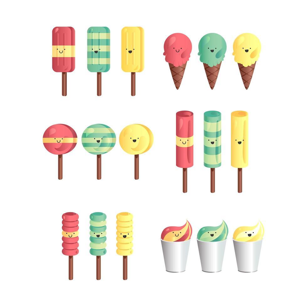 vector set van consumptie-ijs