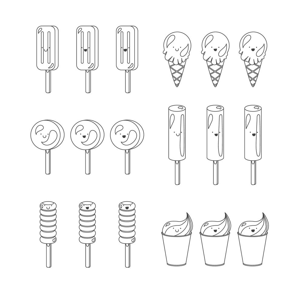 vector set van emotionele consumptie-ijs