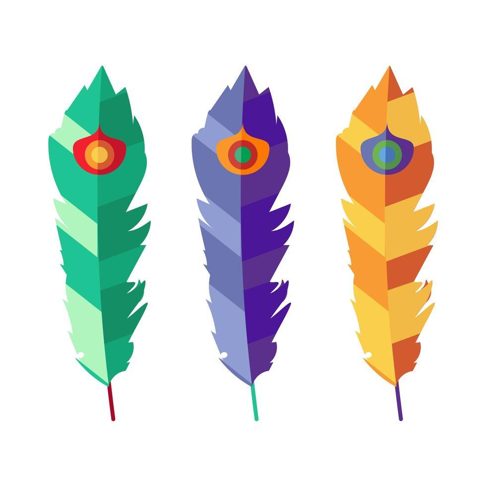 set van drie platte kleurrijke veren vector