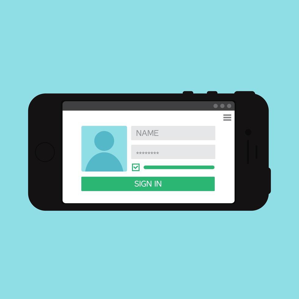 websjabloon van het inlogformulier voor smartphones vector