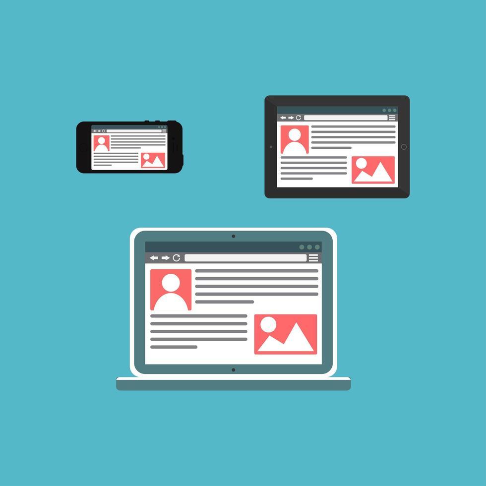 websjabloon van adaptieve site of artikelformulier vector