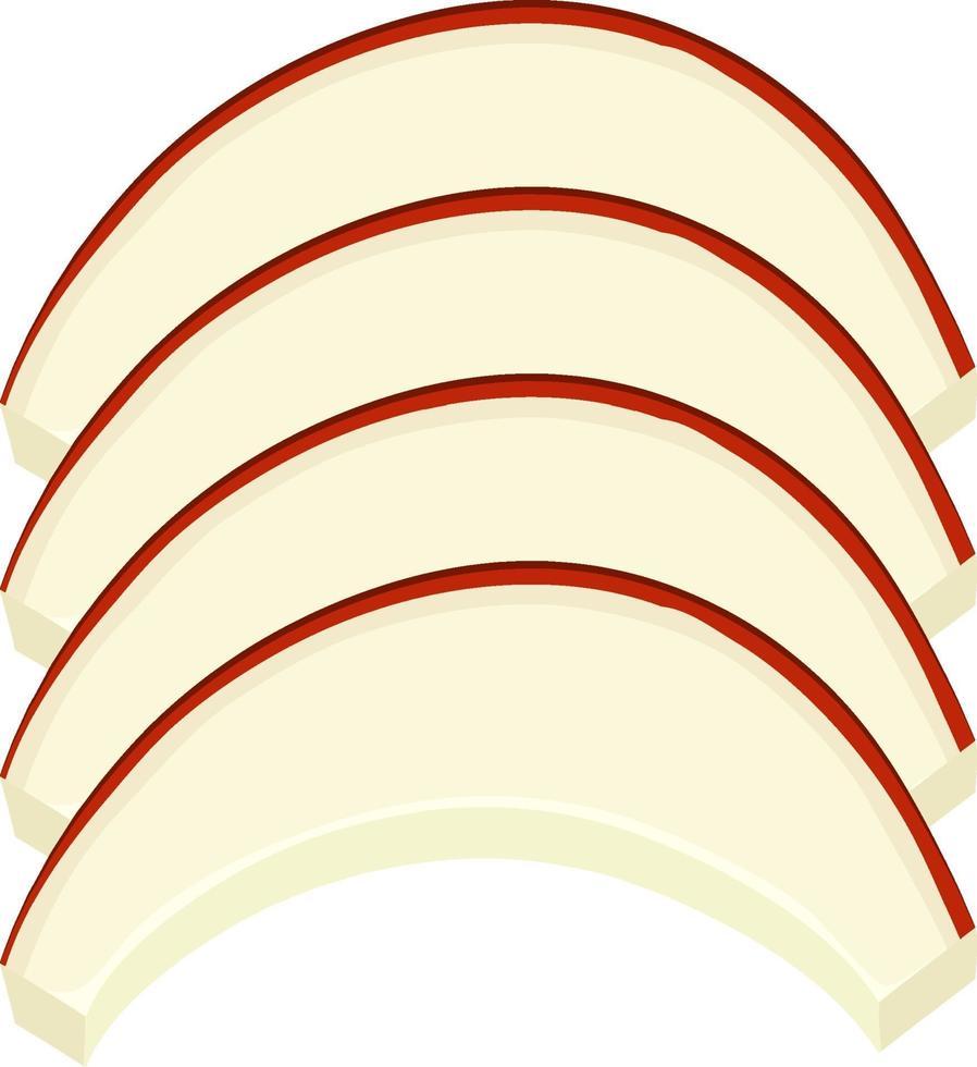 geïsoleerde gesneden appel op witte achtergrond vector