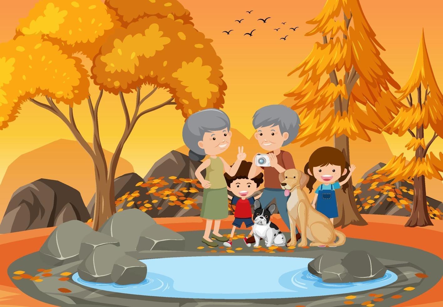grootouder en kinderen op het park vector