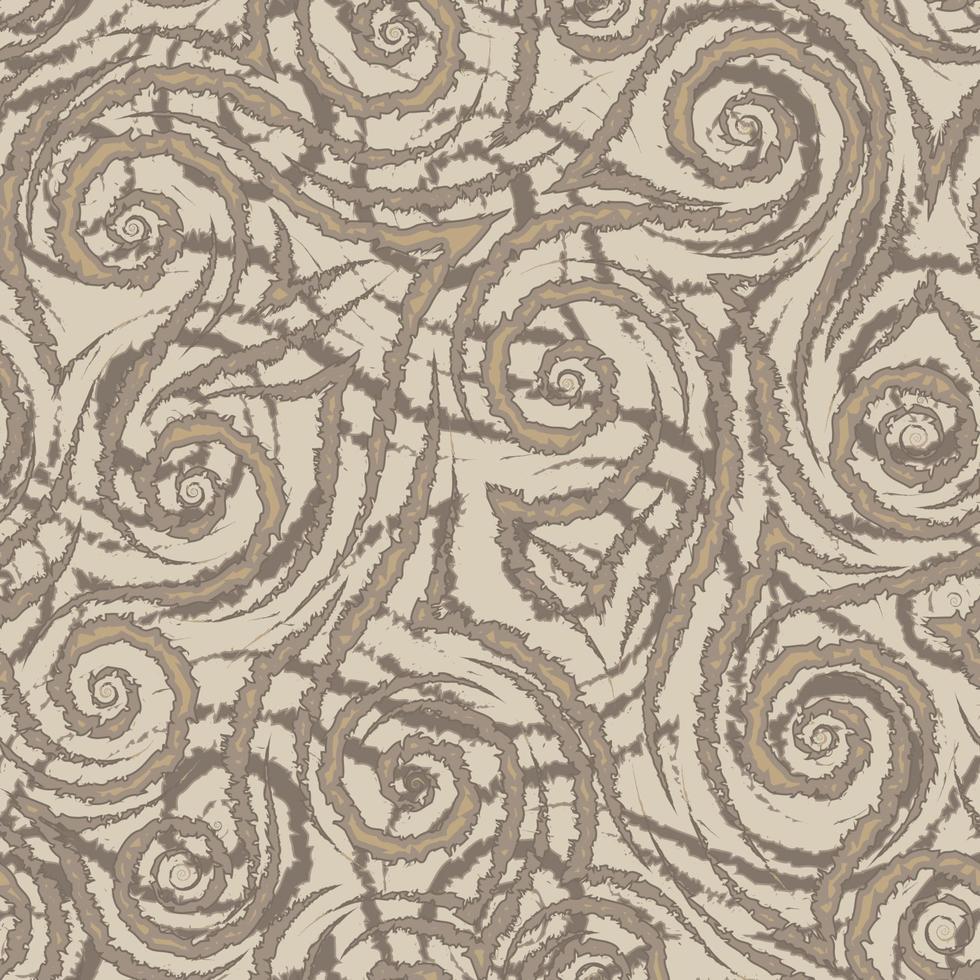 bruine vloeiende lijnen hoeken en spiralen met gescheurde randen vector