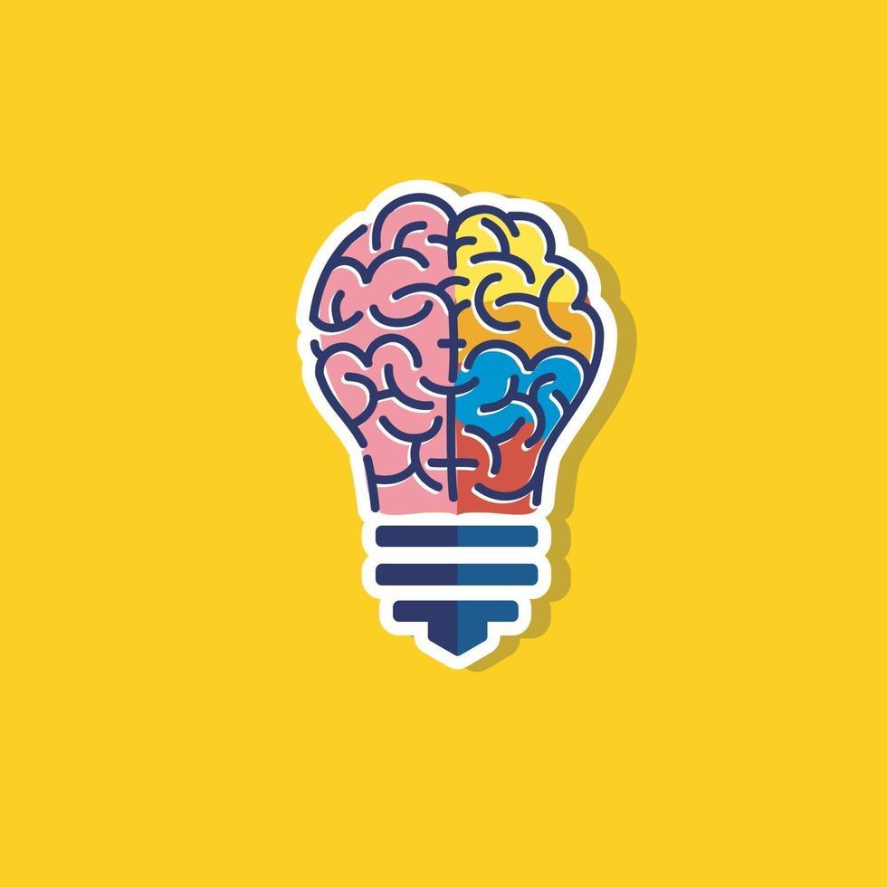 kleurrijke gloeilamp idee met hersenen vector logo sjabloon
