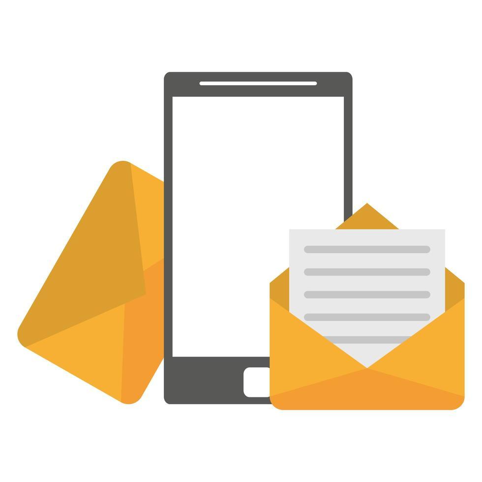 mail en smartphone pictogram vector