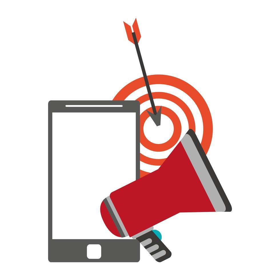 megafoon en smartphone met doel vector