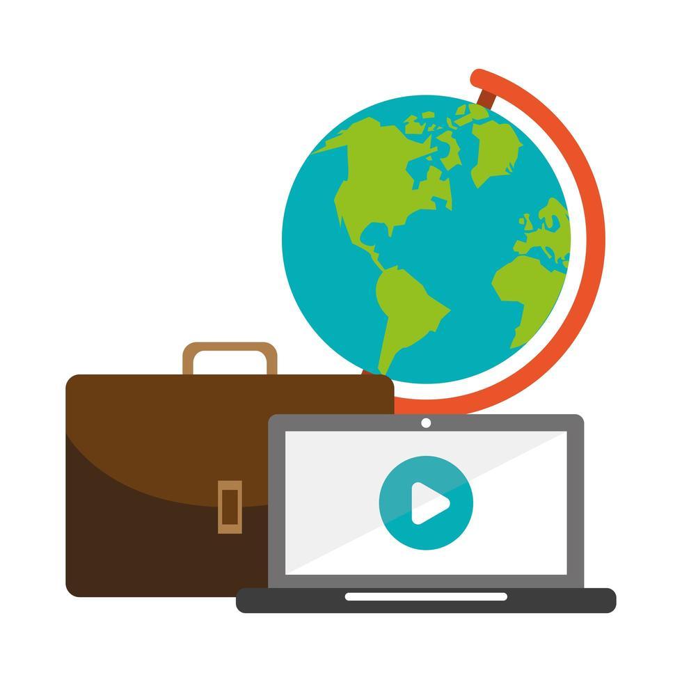 laptop, koffer en wereldbol vector