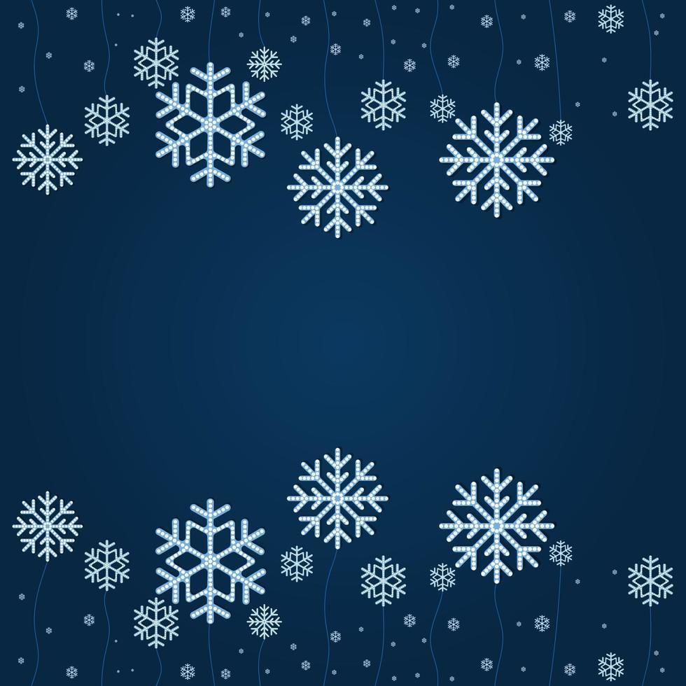 abstracte achtergrond Kerst vallende sneeuwvlok vector geïsoleerd op klassieke blauwe achtergrond.
