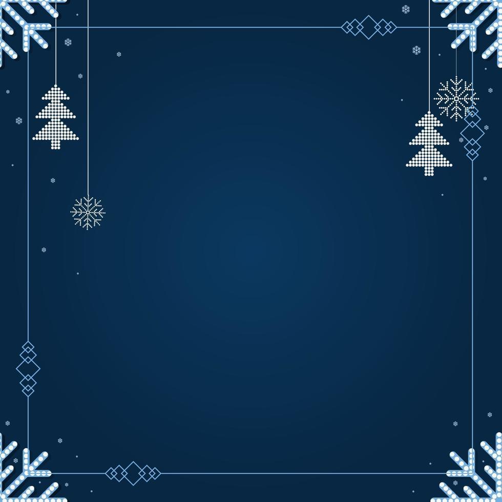 Kerst vallende sneeuwvlok en ornamenten geïsoleerd op klassieke blauwe achtergrond. vector
