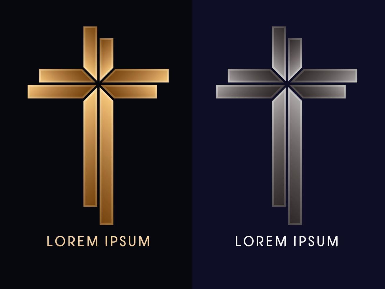 gouden en zilveren kruis vector