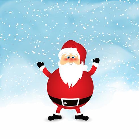 Kerstman op sneeuwwaterverfachtergrond vector