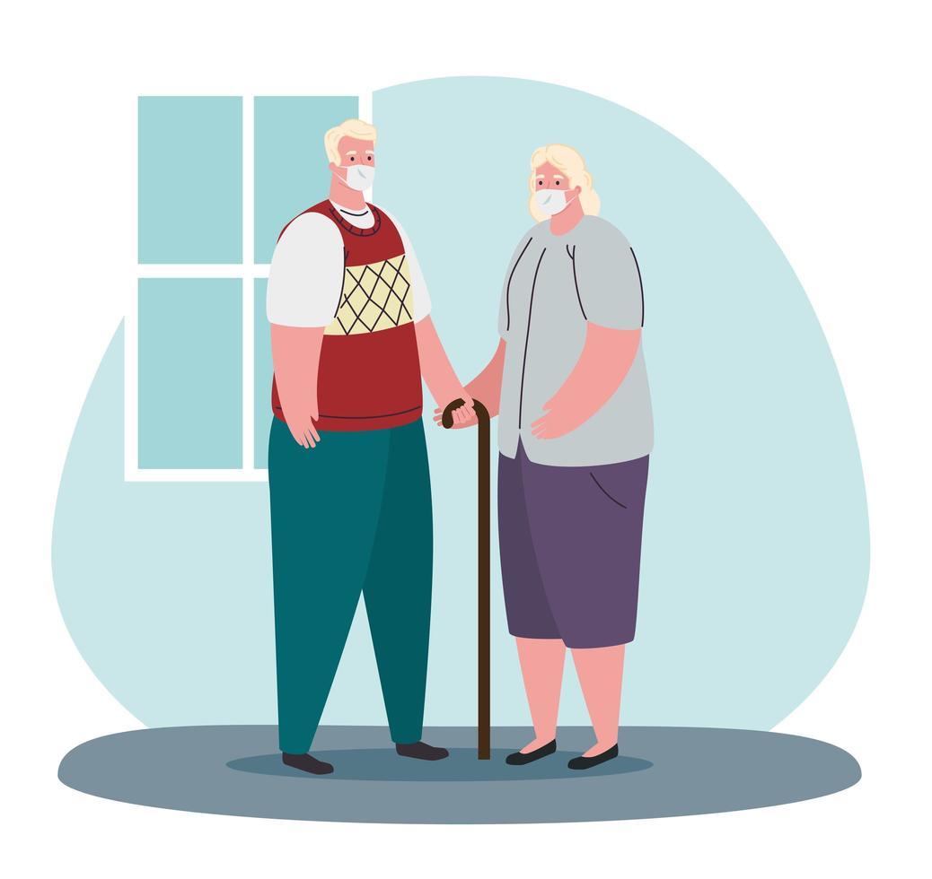 bejaarde echtpaar met medische maskers tegen coronavirus vector