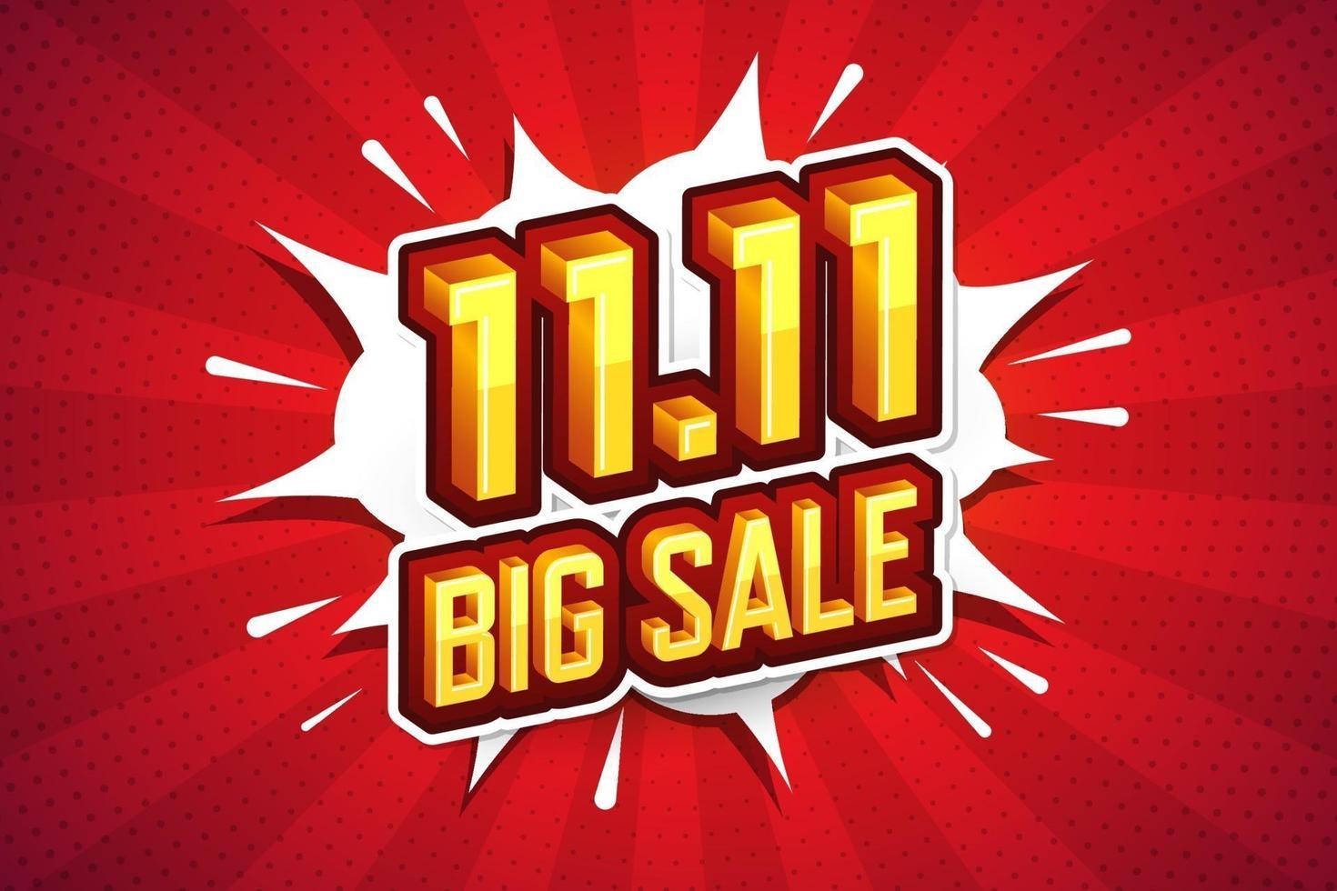 11. 11 grote verkoop lettertype expressie popart komische tekstballon. vector illustratie