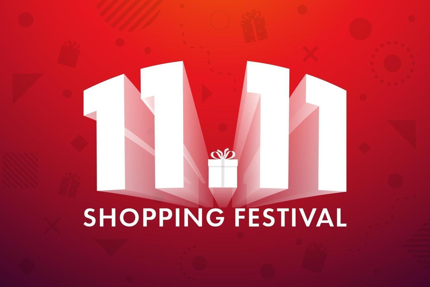 11.11 shopping festival, toespraak marketing bannerontwerp op rode achtergrond. vector illustratie
