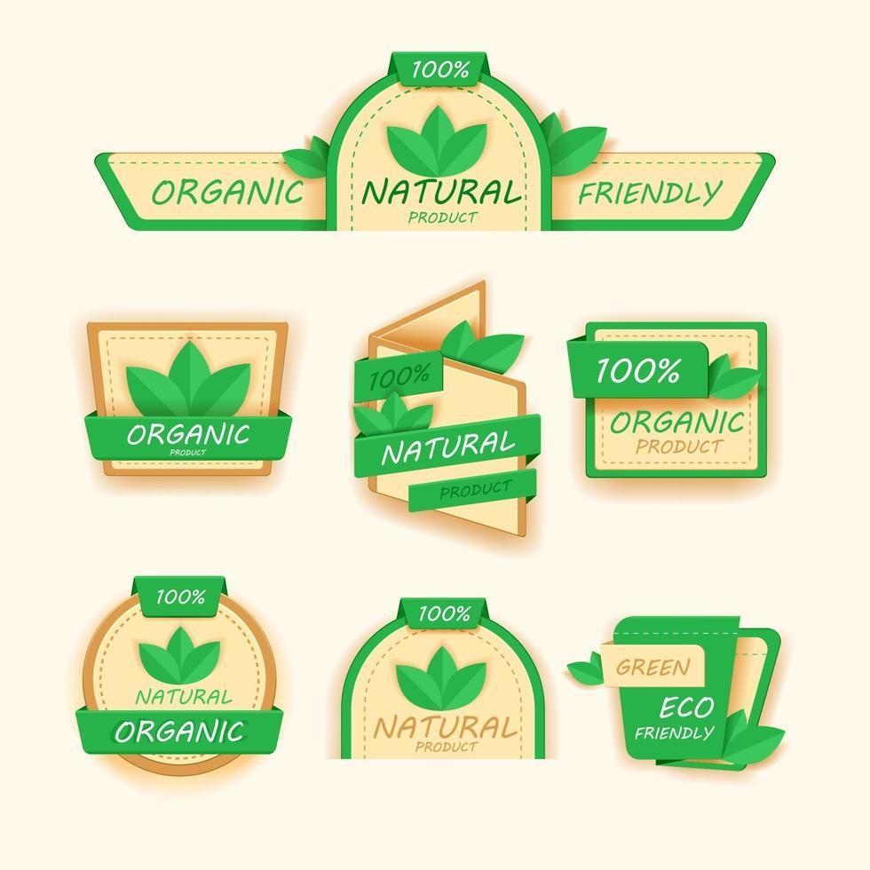 gezonde voeding pictogrammen of etiketten, biologische labels, natuurlijke productelementen, logo vegetarisch menu, veganistisch embleem, vers natuurproduct, vectorillustratie vector