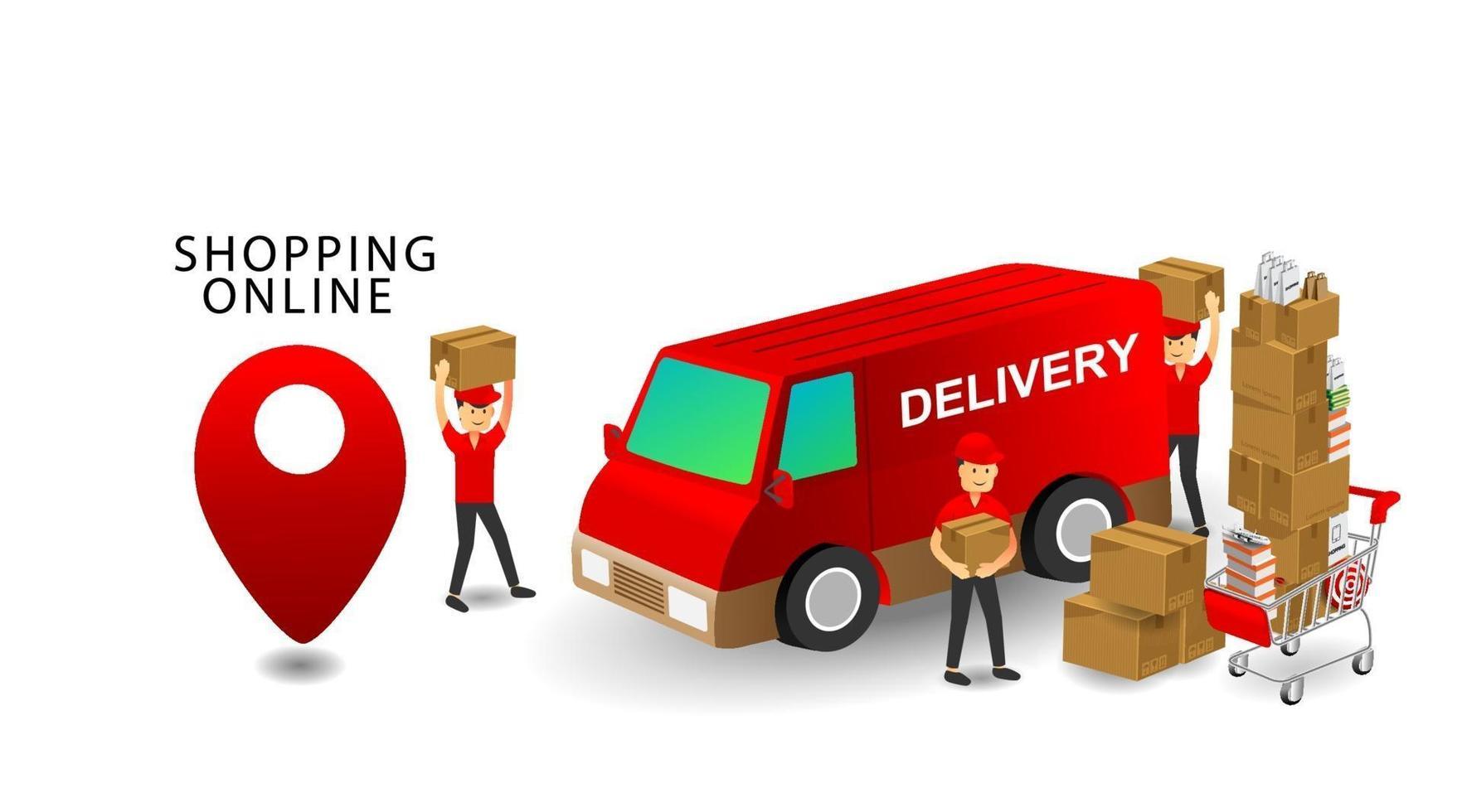 online shopping concept, service team bezorgers, producten op kar met geïsoleerde witte achtergrond vector