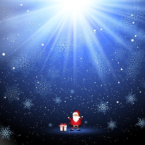 Leuke kerstman en cadeau op sneeuwvlok achtergrond vector