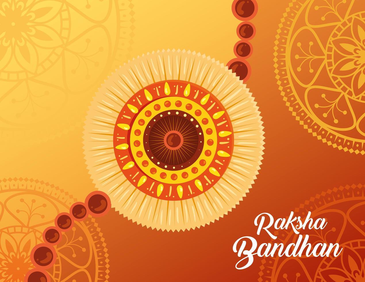 wenskaart met decoratieve rakhi voor raksha bandhan vector