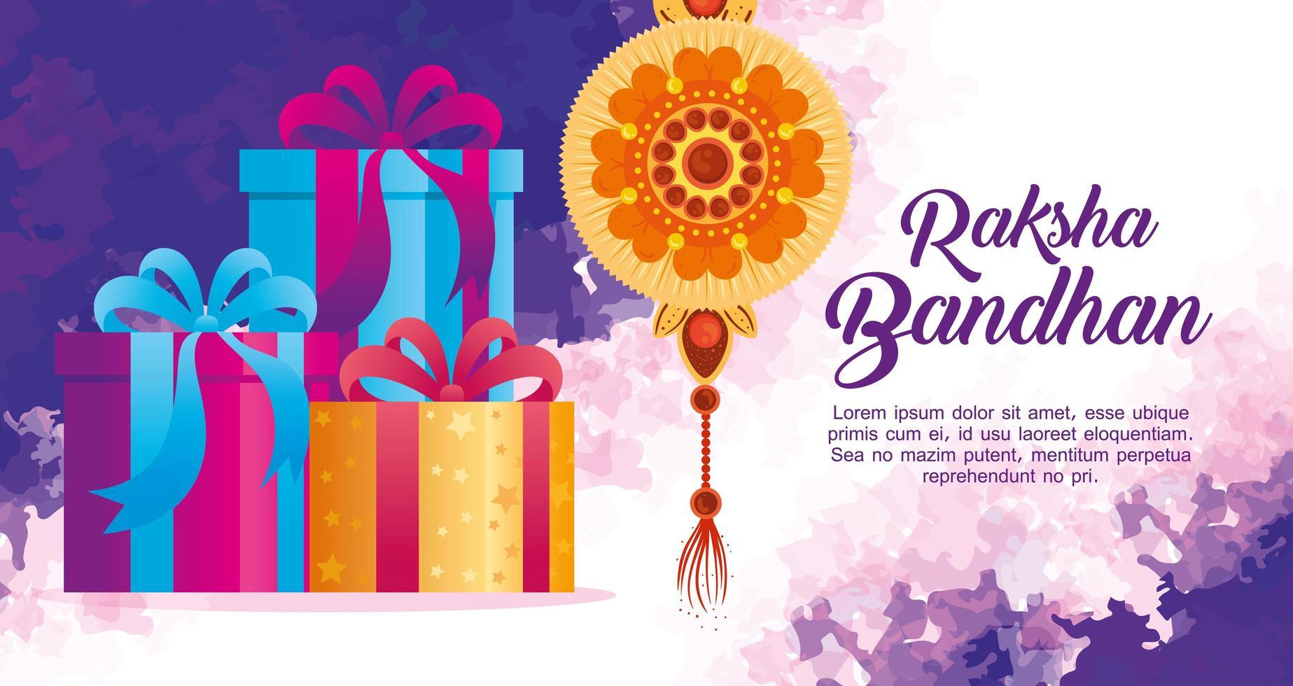 wenskaart met decoratieve rakhi voor raksha bandhan en geschenkdozen, indisch festival voor broer en zus bonding feest, de bindende relatie vector