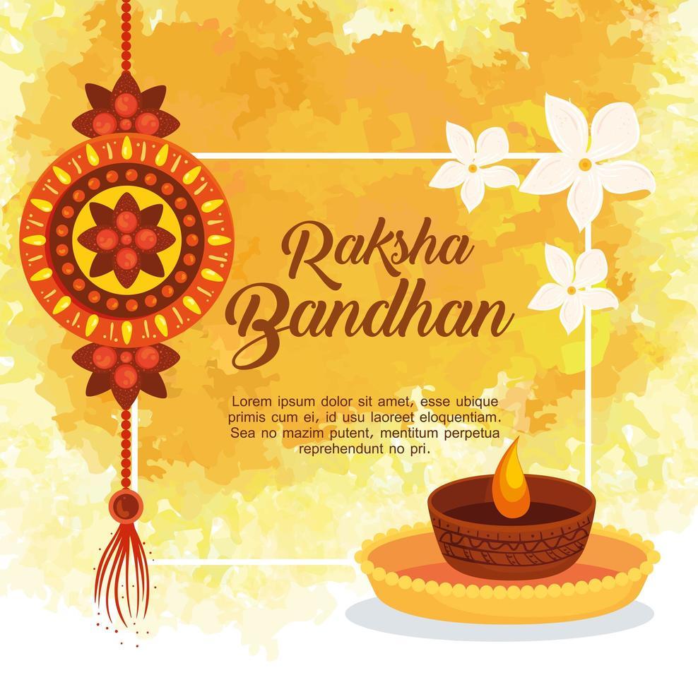 wenskaart met decoratieve rakhi voor raksha bandhan en kaars vector