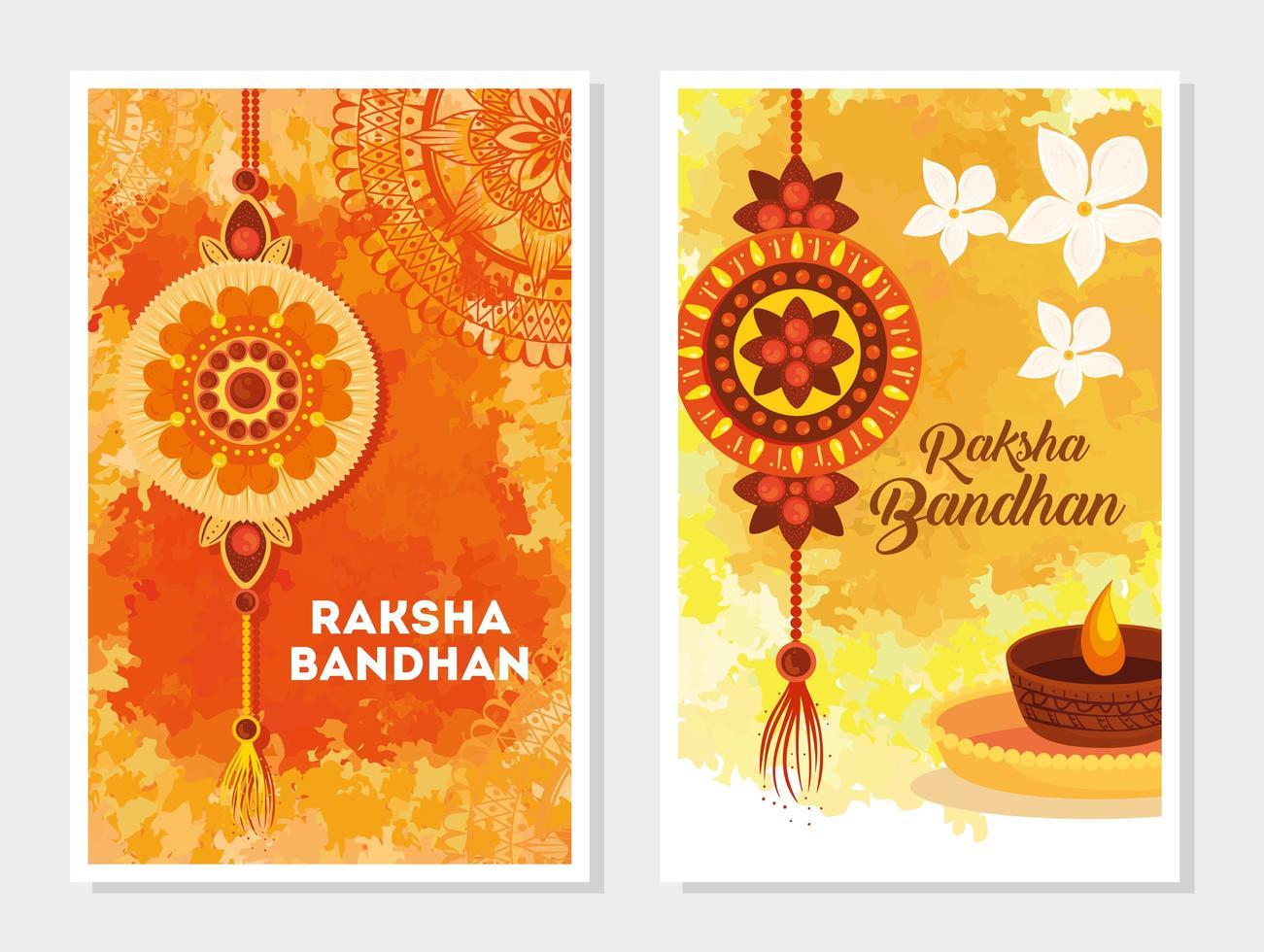 set wenskaarten voor raksha bandhan-viering vector