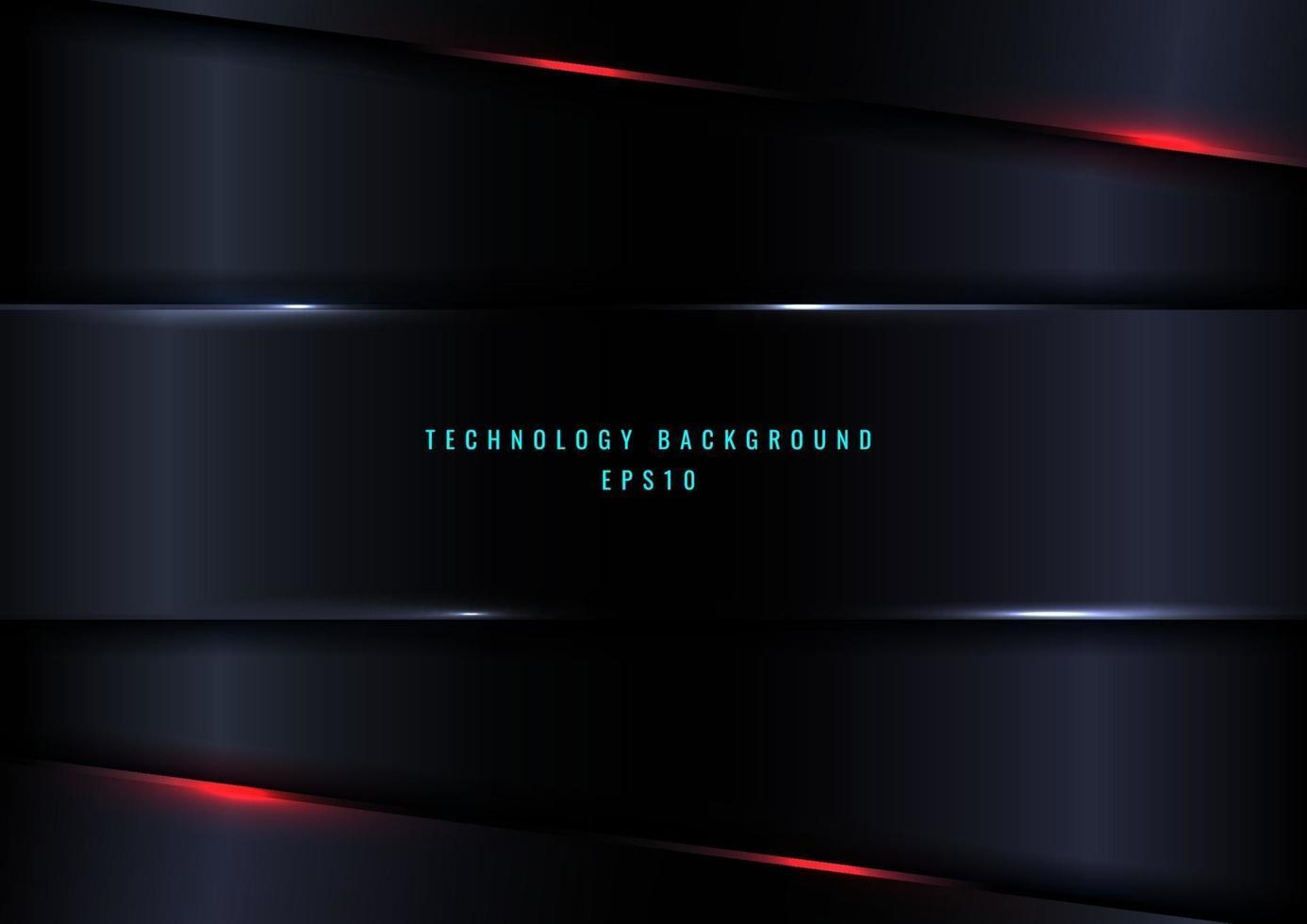 abstracte sjabloon donkerblauwe geometrische koptekst met rode verlichtingseffect achtergrond vector