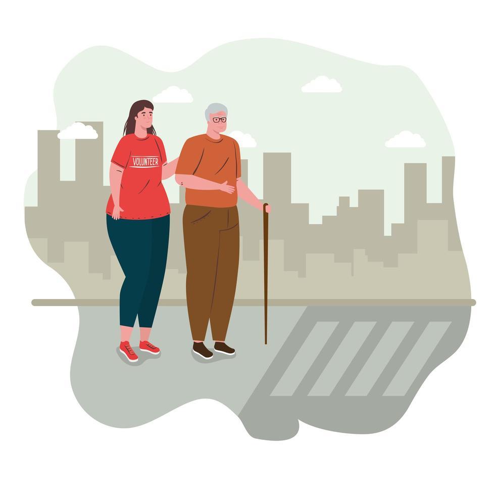 vrijwillige vrouw die een oude man helpt de straat over te steken vector