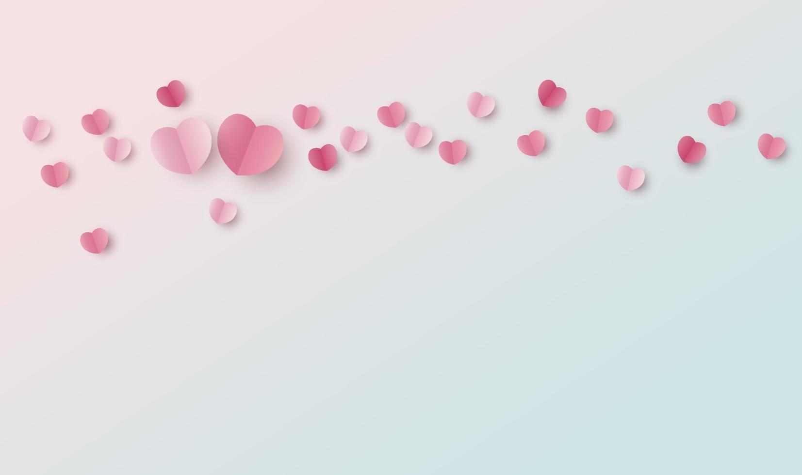 Valentijnsdag achtergrondontwerp van papieren harten met kopie ruimte vectorillustratie vector