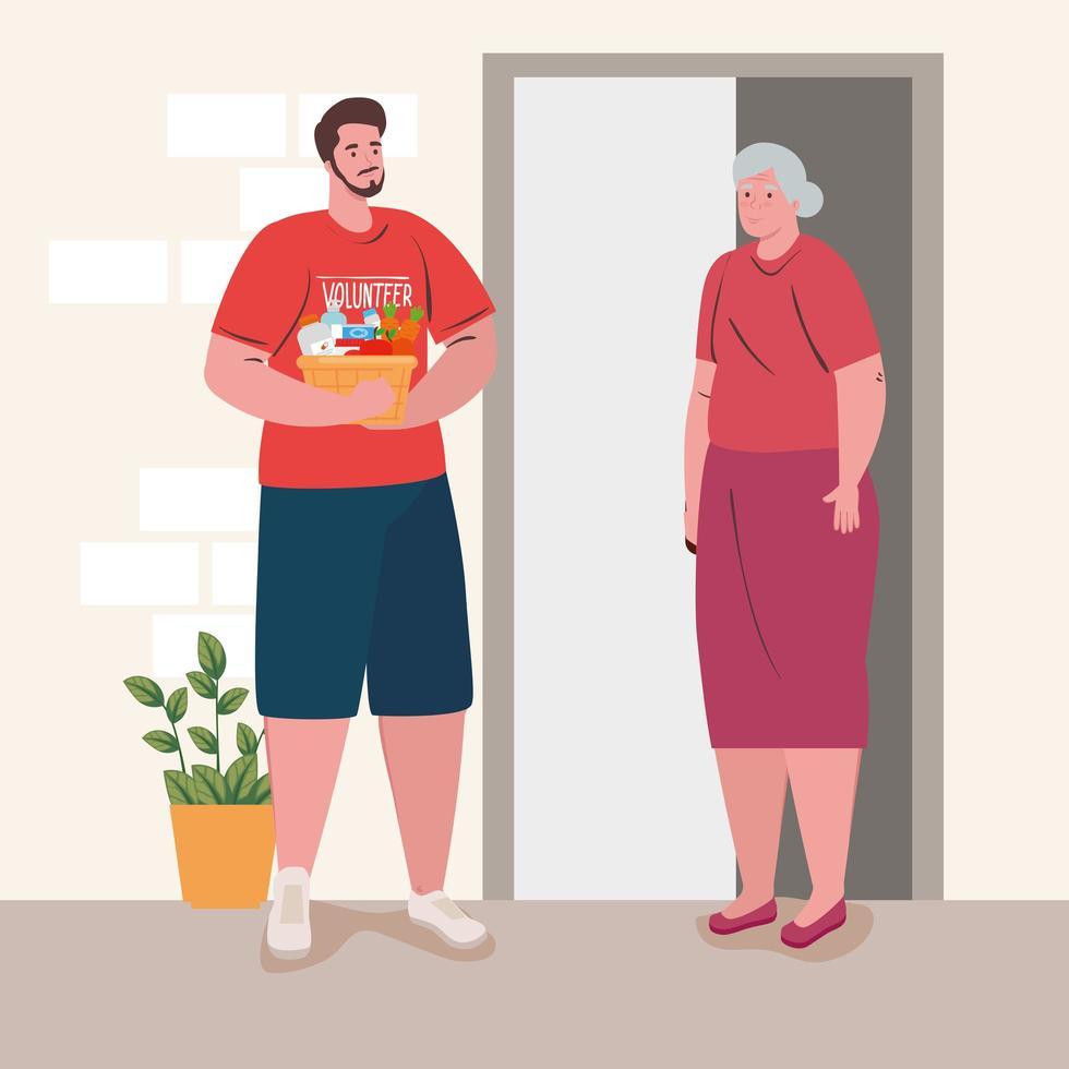 vrijwillige man die een oude dame helpt met boodschappen vector