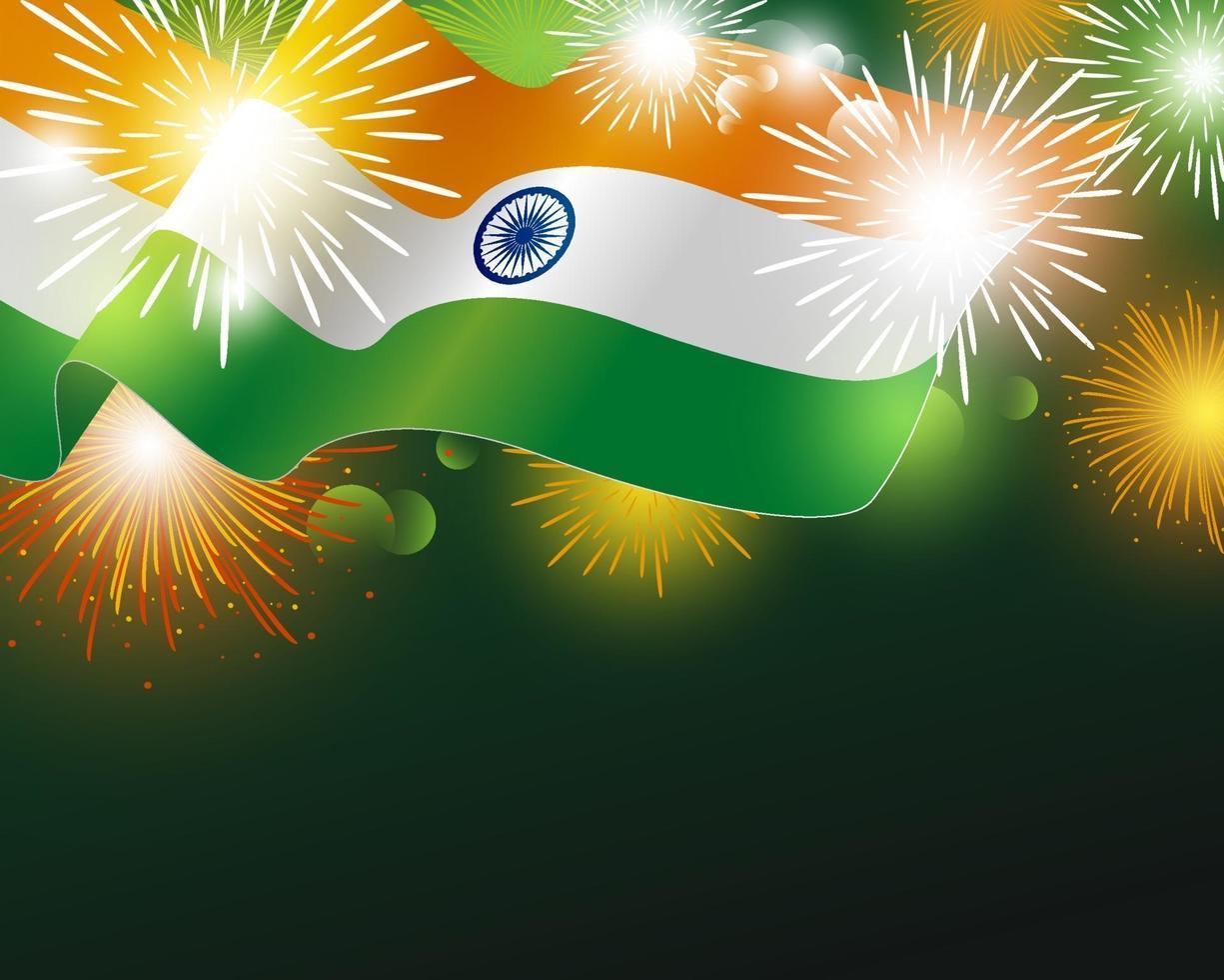 vlag van India met vuurwerk achtergrond vectorillustratie vector