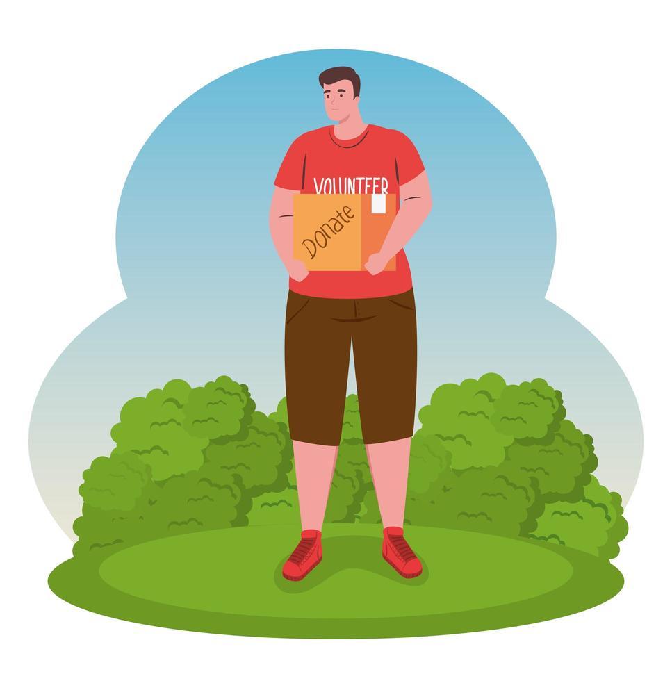 vrijwilliger man met een donatiezak vector