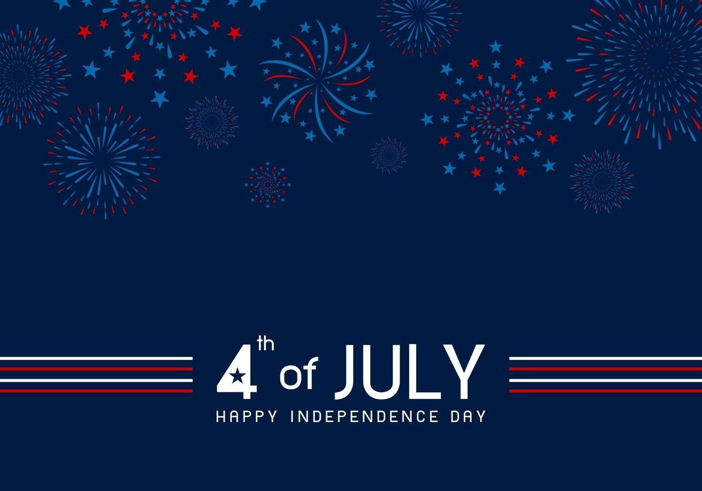 4 juli gelukkig onafhankelijkheidsdag ontwerp van vuurwerk op blauwe achtergrond vectorillustratie vector