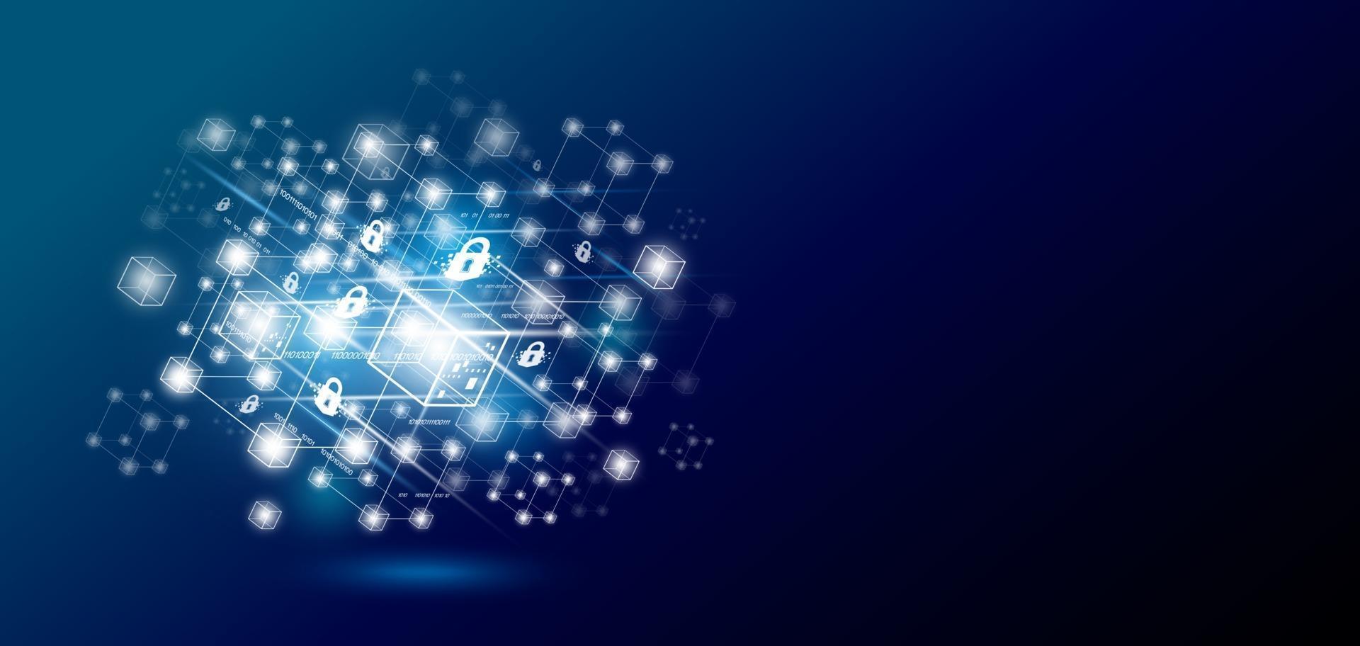 blockchain technologieontwerp met kopie ruimte vectorillustratie vector