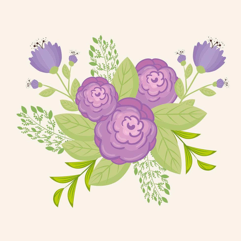 paarse bloemen met takken en bladeren voor natuurdecoratie vector