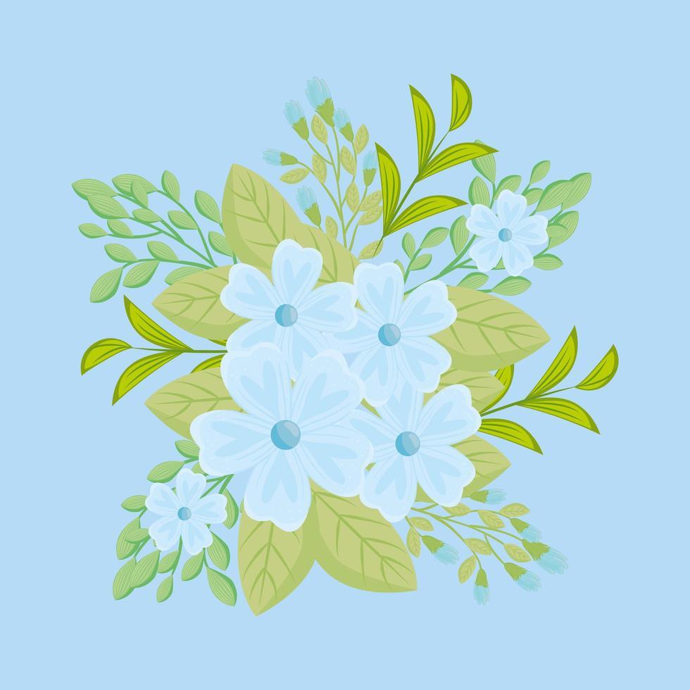 blauwe bloemen met takken en bladeren voor natuurdecoratie vector